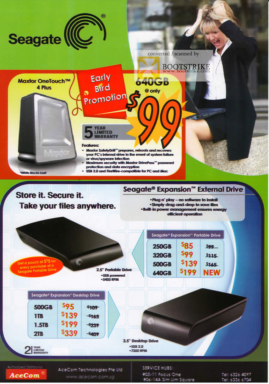 Comex 2009 price list image brochure of Seagate Maxtor OneTouch 4 Plus Expansion External Drive