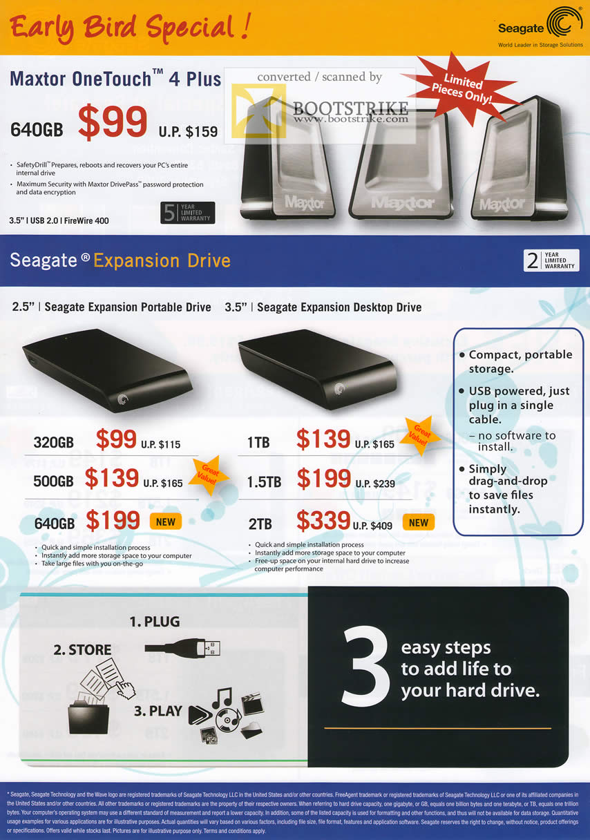 Comex 2009 price list image brochure of Seagate Maxtor OneTouch 4 Plus Expansion Portable Desktop Drive External Storage
