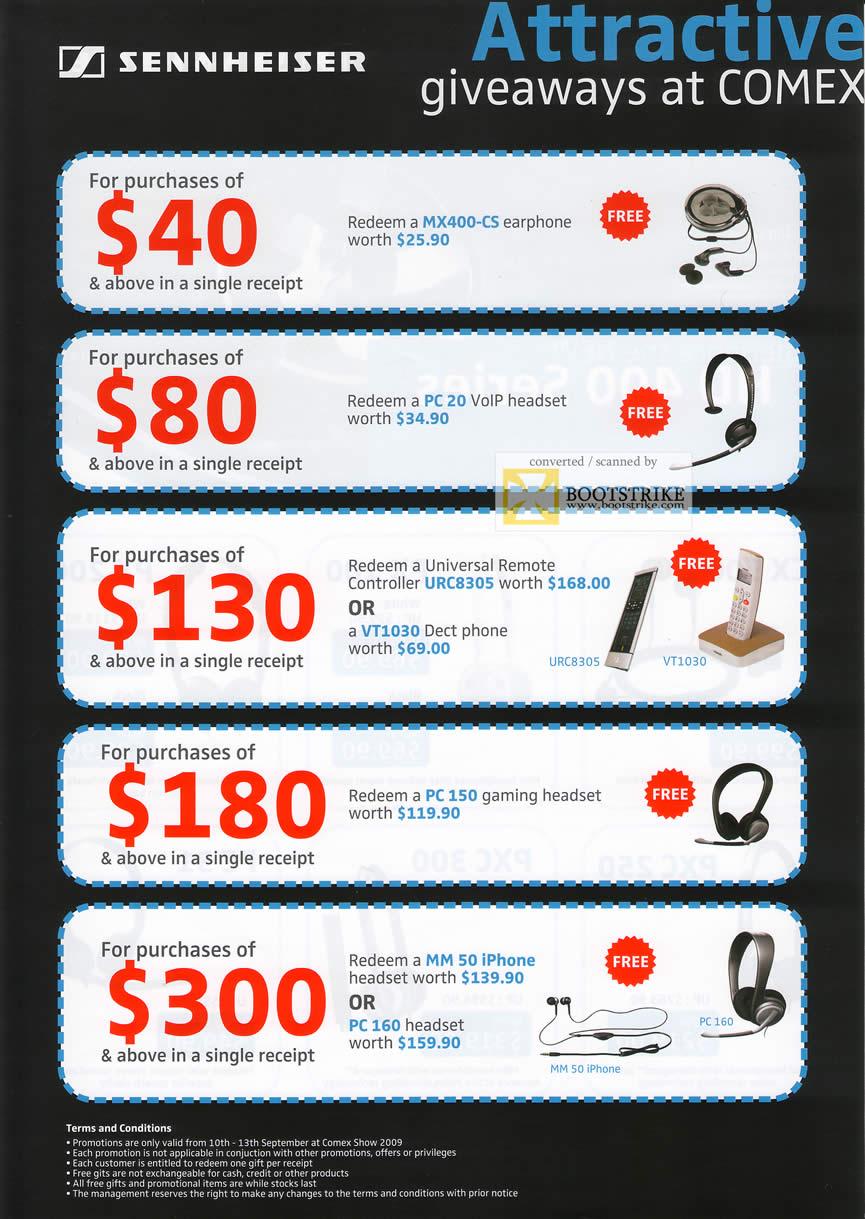 Comex 2009 price list image brochure of Sennheiser Promotions