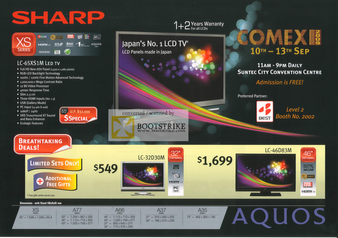 Comex 2009 price list image brochure of Sharp Aquos LED TV XS LC 65XS1M 32D30M 46D38M