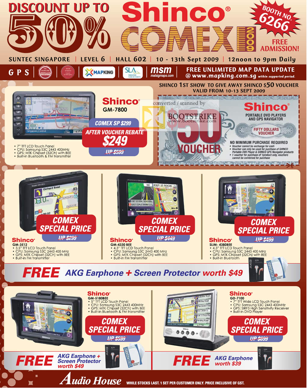 Comex 2009 price list image brochure of Shinco GM-7800 GPS 3512 4330 4380BEE 5180BEE 7100