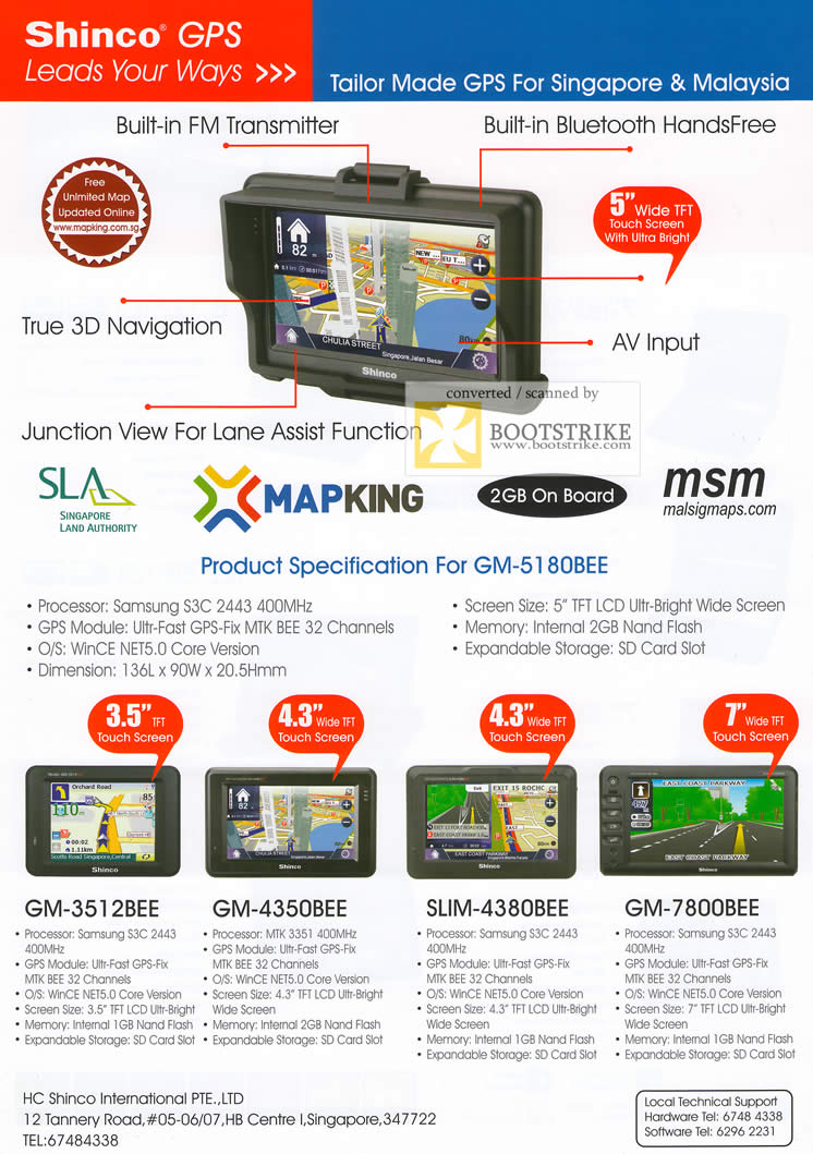 Comex 2009 price list image brochure of Shinco GPS GM 3512BEE 4350BEE 4380BEE 7800BEE