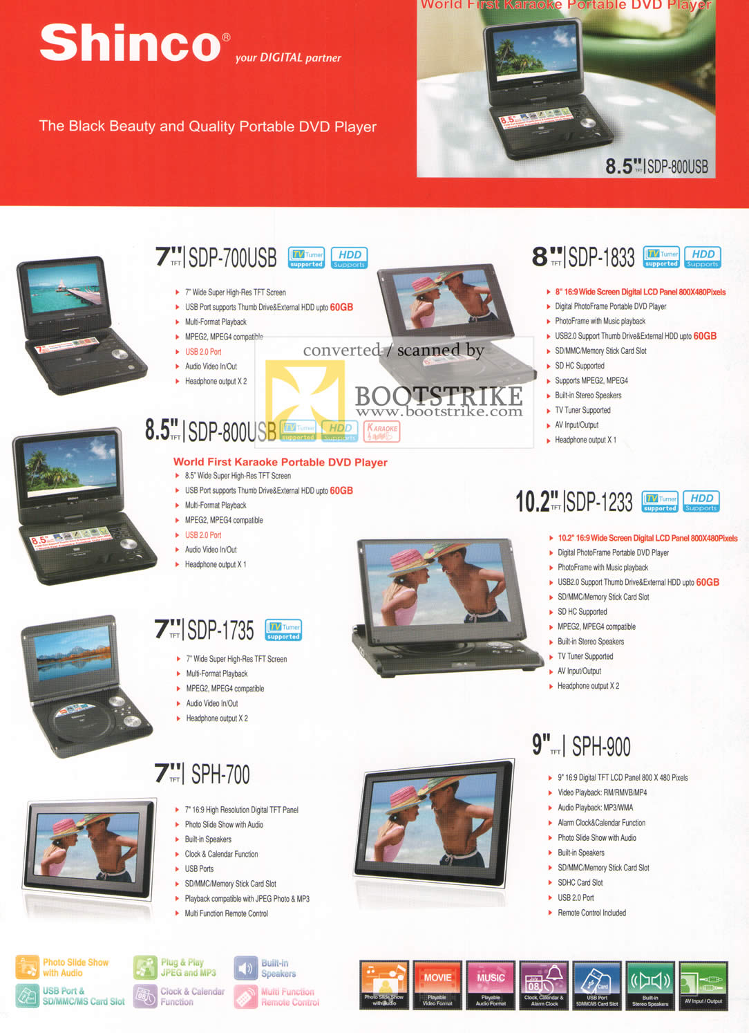 Comex 2009 price list image brochure of Shinco Portable DVD Player ISDP 700USB 1833 800USB 1233 1735 700 SPH 900