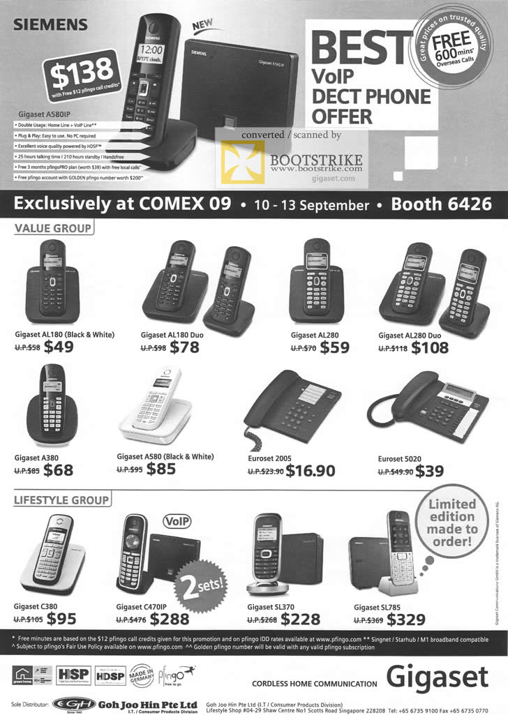 Comex 2009 price list image brochure of Siemens Gigaset VoIP Dect Phones