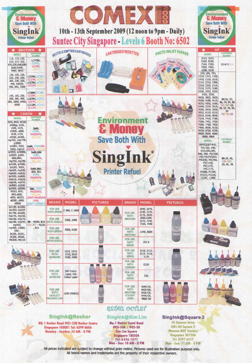 Comex 2009 price list image brochure of Singink Printer Ink Refuel Brother Canon HP