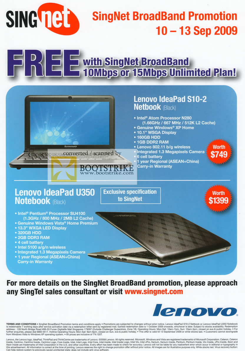 Comex 2009 price list image brochure of Singnet Broadband Lenovo IdeaPad S10-2 Netbook U350 Notebook