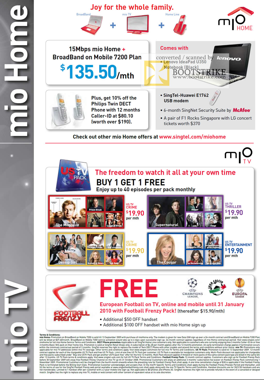 Comex 2009 price list image brochure of Singtel Mio Home TV