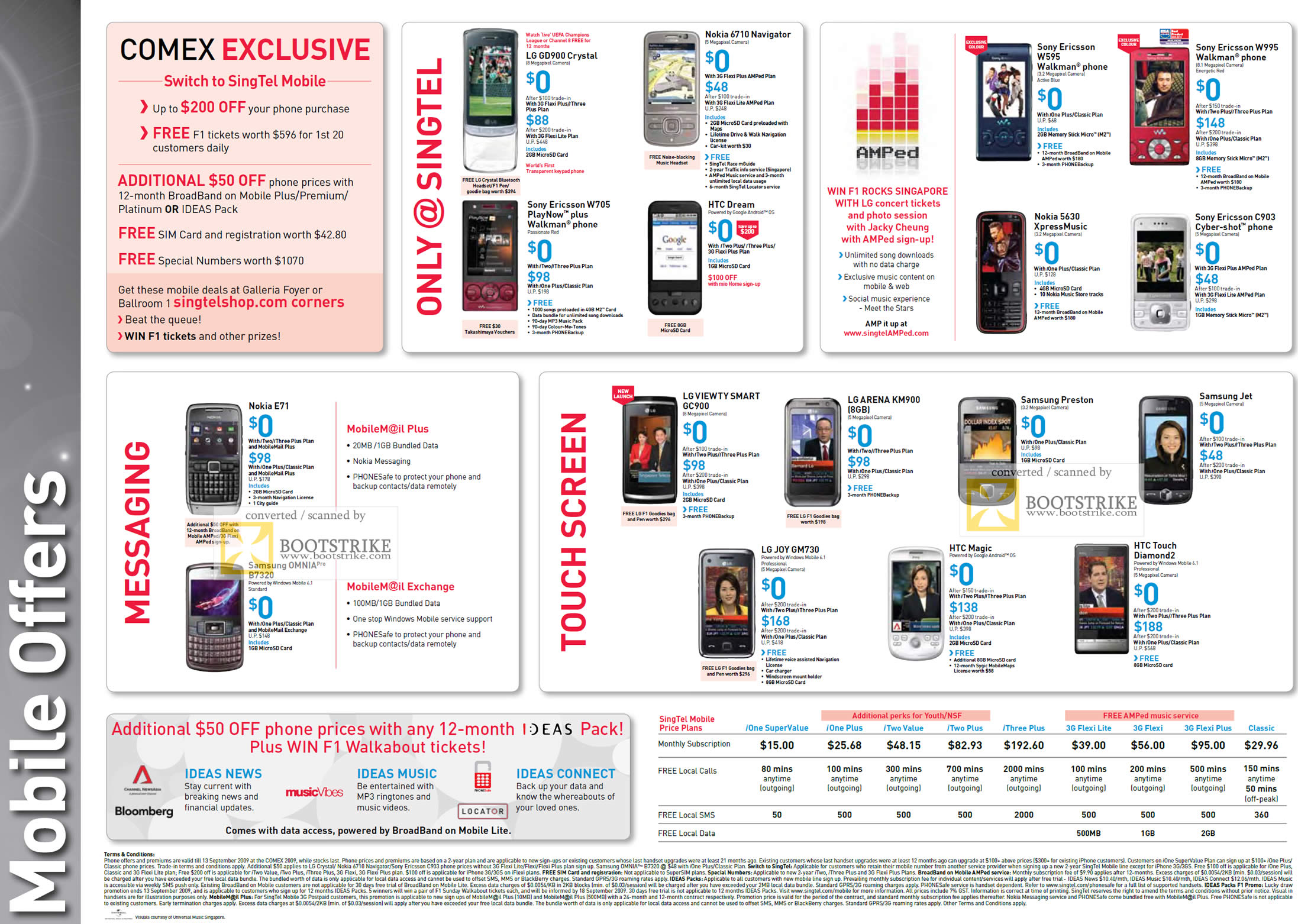 Comex 2009 price list image brochure of Singtel Mobile Phone Offers Nokia HTC Sony Ericsson LG Samsung GD900 Crystal Viewty Arena