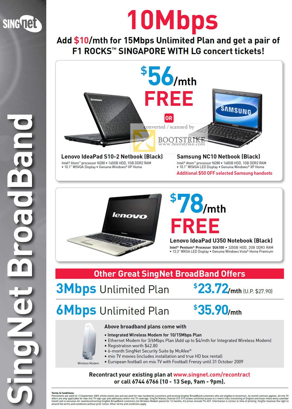 Comex 2009 price list image brochure of Singtel Singnet Broadband Lenovo IdeaPad S10 Samsung NC10 Netbook U310
