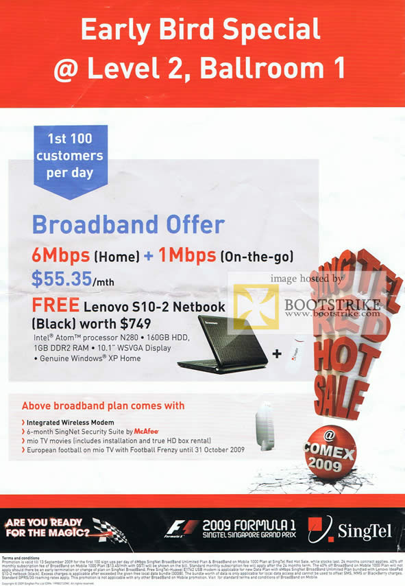 Comex 2009 price list image brochure of Singtel Singnet Early Bird ADSL Broadband On Mobile Offer