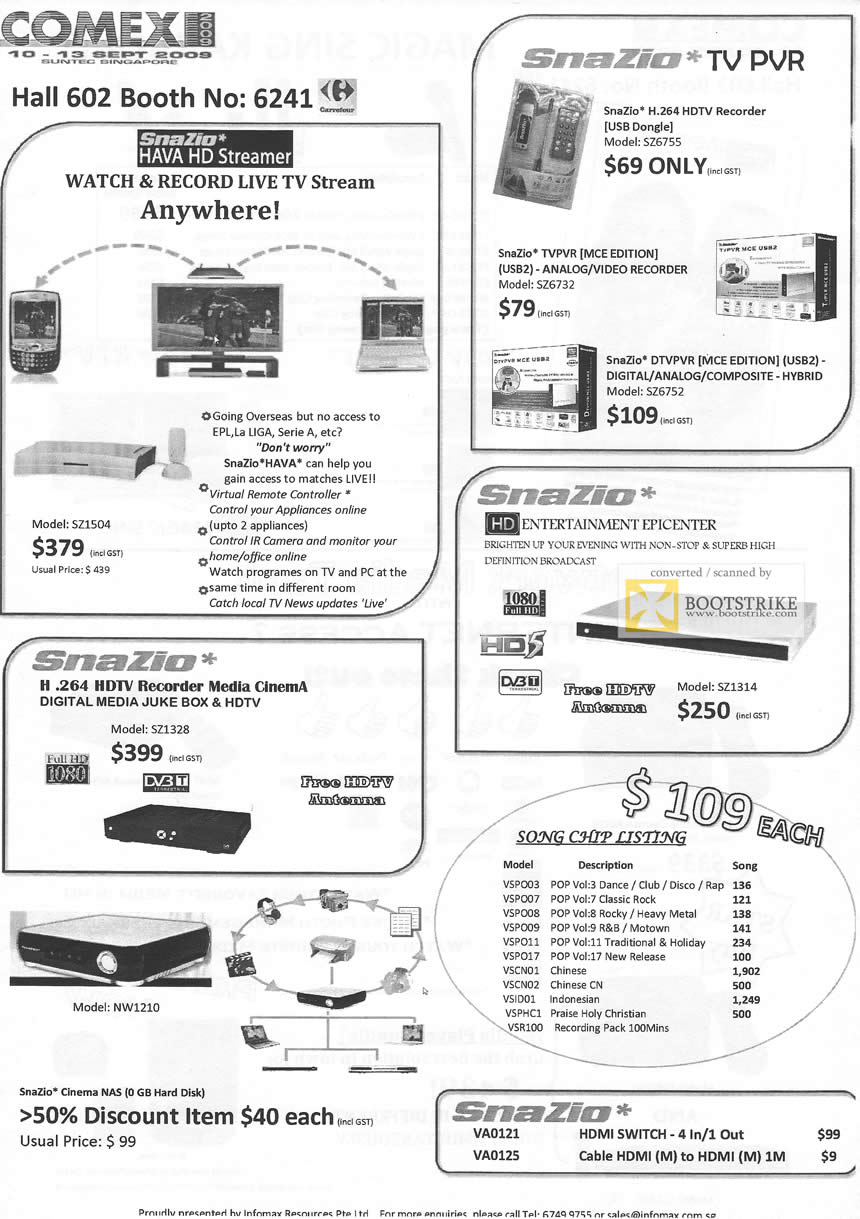 Comex 2009 price list image brochure of Snazio Hava HD Streamer TV PVR HDTV Recorder Media Cinema