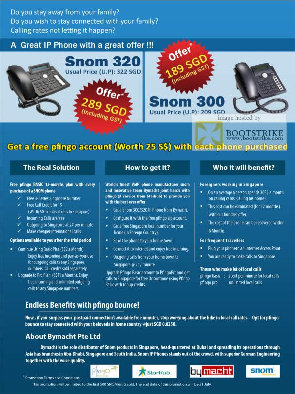 Comex 2009 price list image brochure of Snom 320 300 IP Phone Pfingo