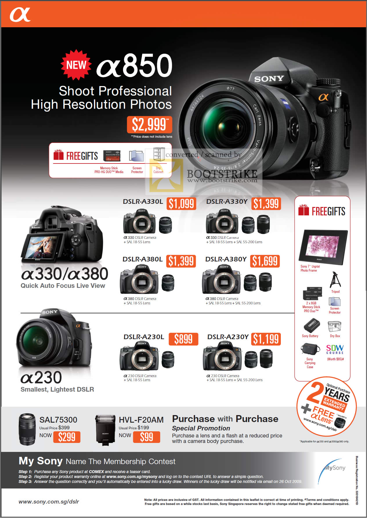 Comex 2009 price list image brochure of Sony Alpha DSLR A330 A380 A280 A330l A330y A380l A380y A230l A230y Sal75300 Hvl-f20am