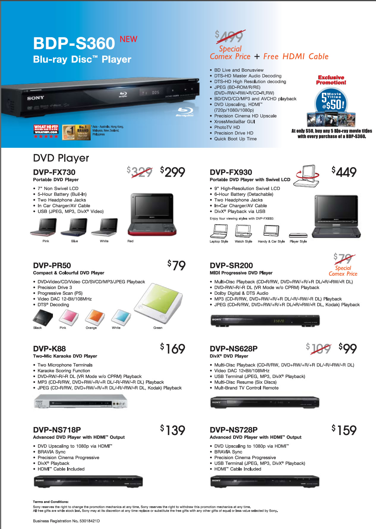 Comex 2009 price list image brochure of Sony Blu-Ray Disc Player BDP S360 DVD DVP FX730 FX930 PR50 SR200 K88 NS628P