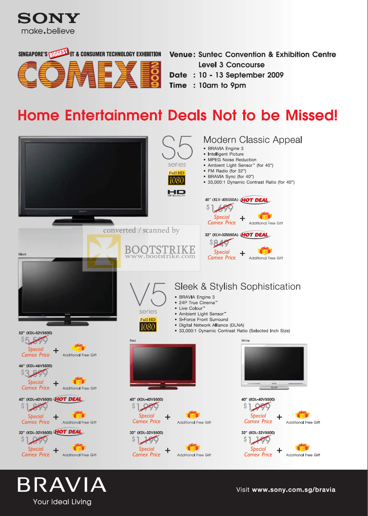Comex 2009 price list image brochure of Sony Bravia TV S5 KLV 40S440A 32S550A V5 KDL 52V5500
