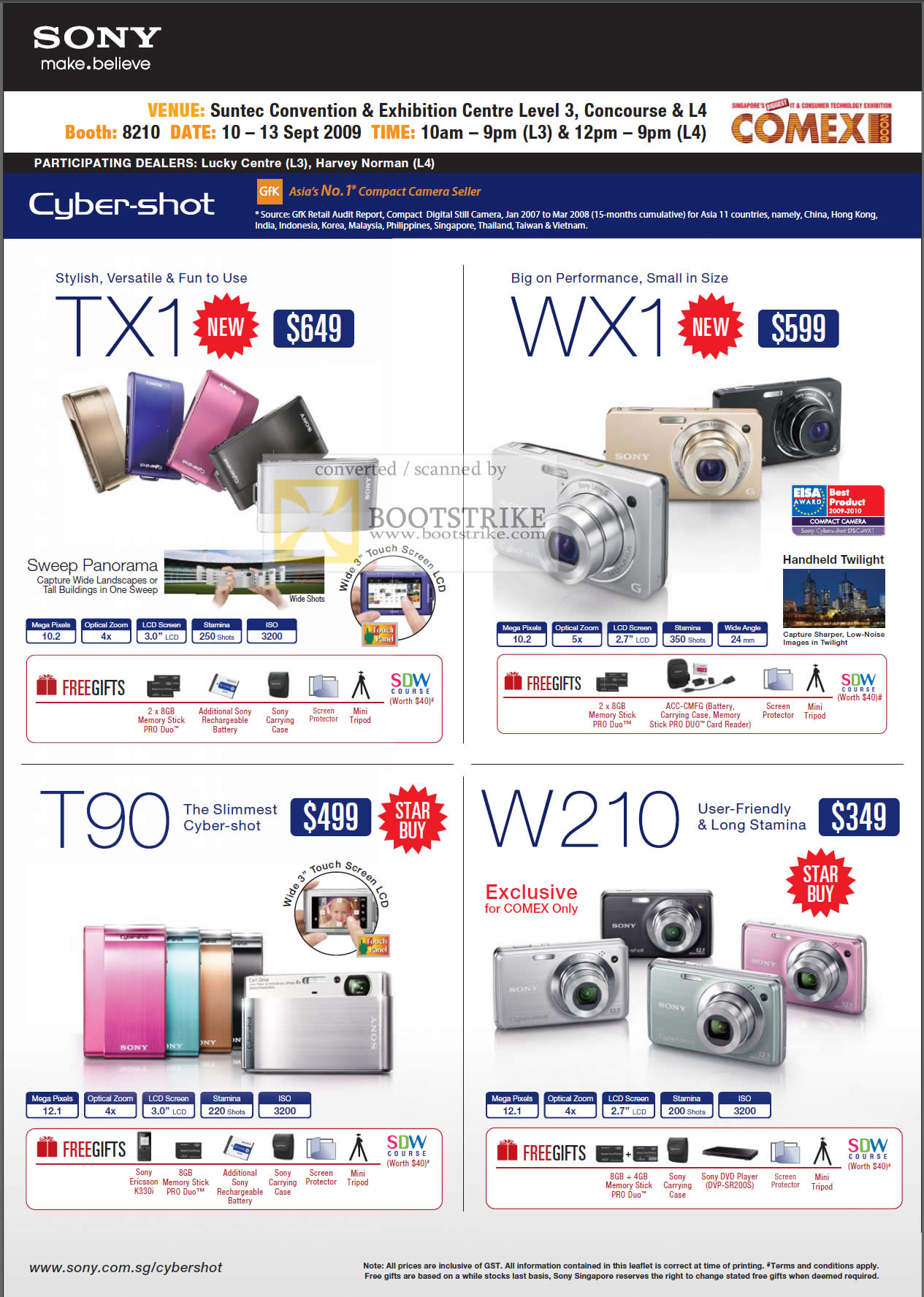 Comex 2009 price list image brochure of Sony Cybershot Digital Cameras TX1 WX1 T90 W210