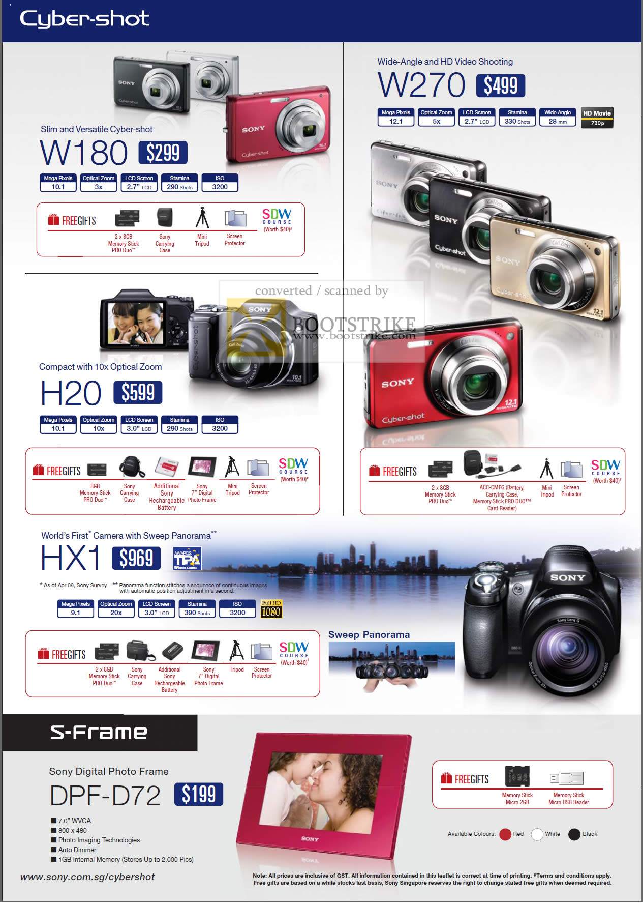 Comex 2009 price list image brochure of Sony Cybershot Digital Cameras W180 H20 HX1 W270 DPF D72 S-Frame Digital Photo