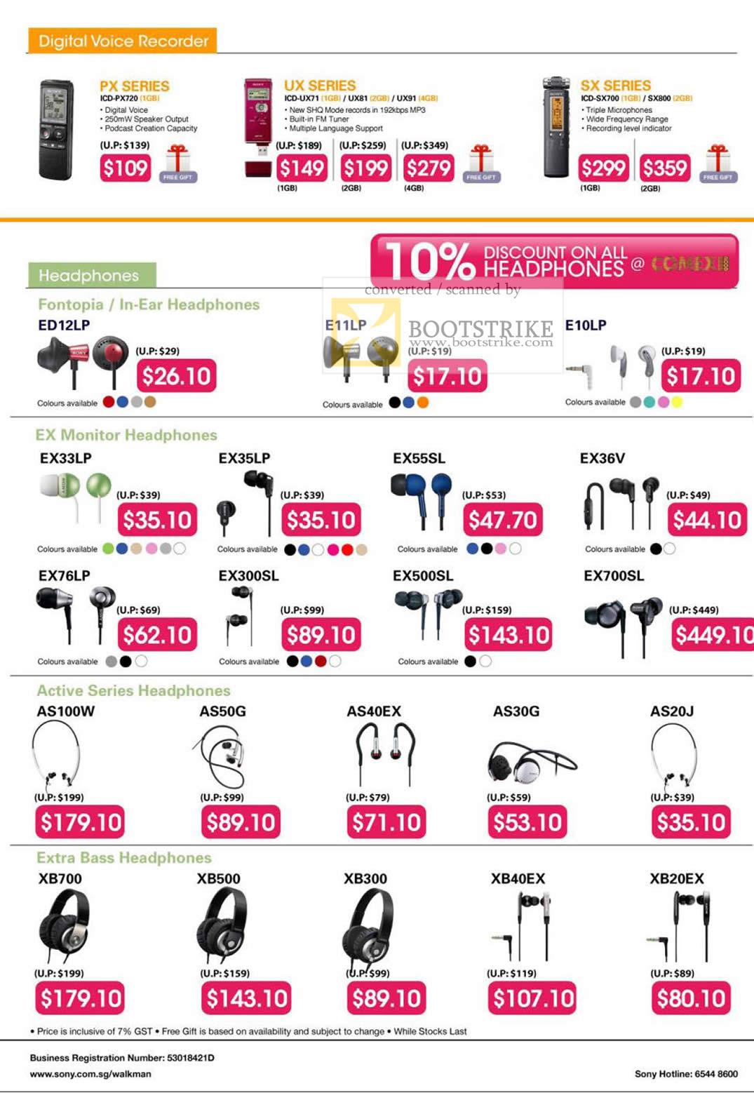 Comex 2009 price list image brochure of Sony Digital Voice Recorder PX UX SX Headphones Fontopia EX Monitor Active Series