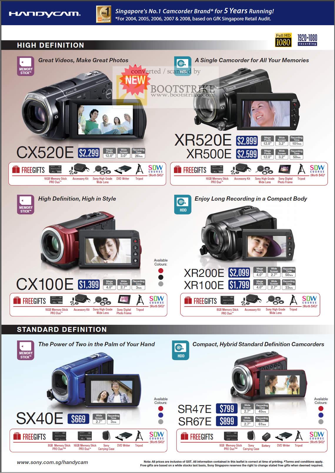 Comex 2009 price list image brochure of Sony HandyCam Camcorders CX520E XR520E XR500E CX100E XR200E XR100E SX40E SR47E SR67E