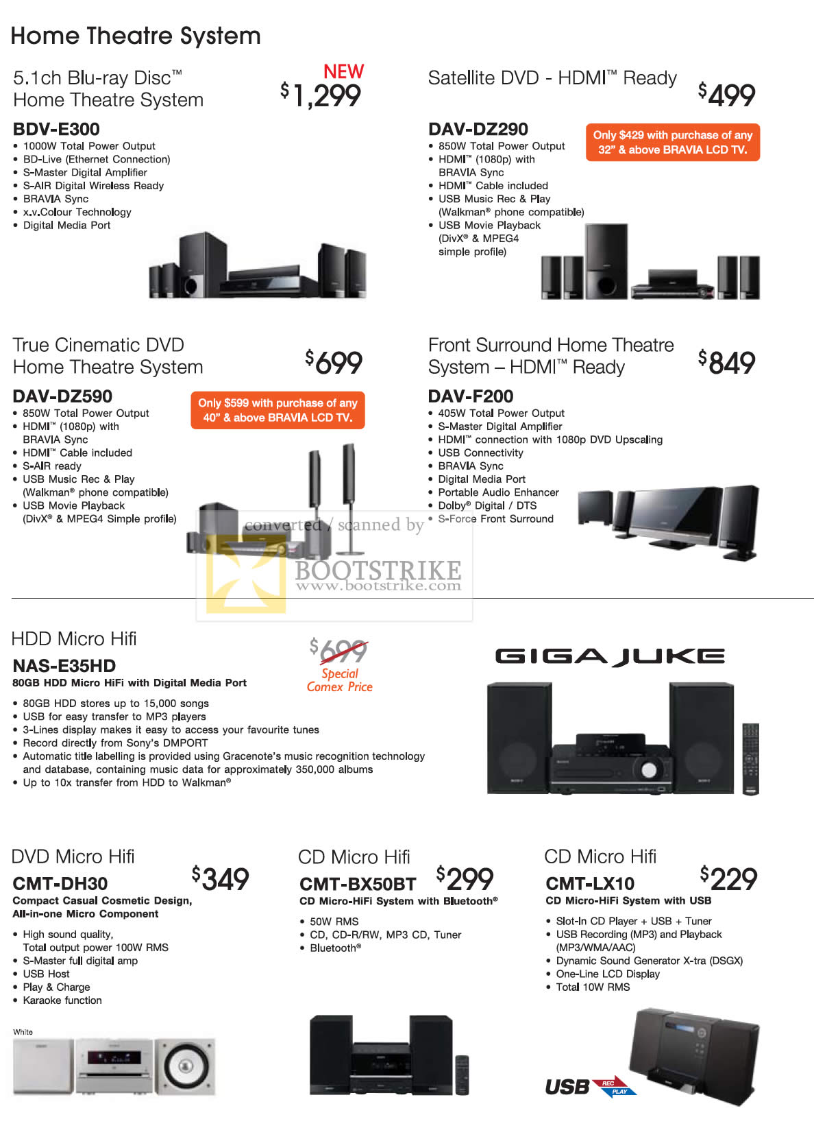 Comex 2009 price list image brochure of Sony Home Theatre Blu-ray BDV DAV Micro Hifi NAS DVD CMT CD