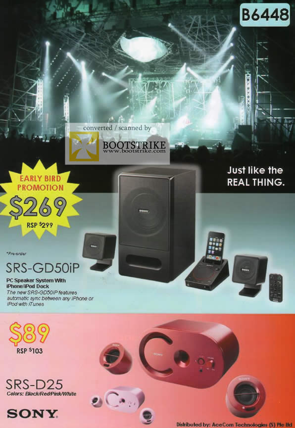 Comex 2009 price list image brochure of Sony PC Speaker SRS-GD50iP SRS-D25