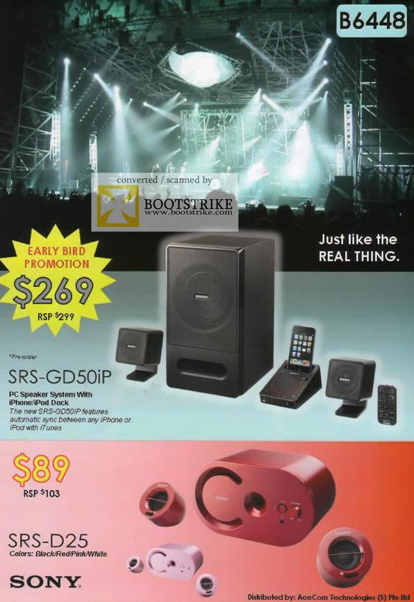 Comex 2009 price list image brochure of Sony PC Speaker SRS-GD50iP SRS-D25
