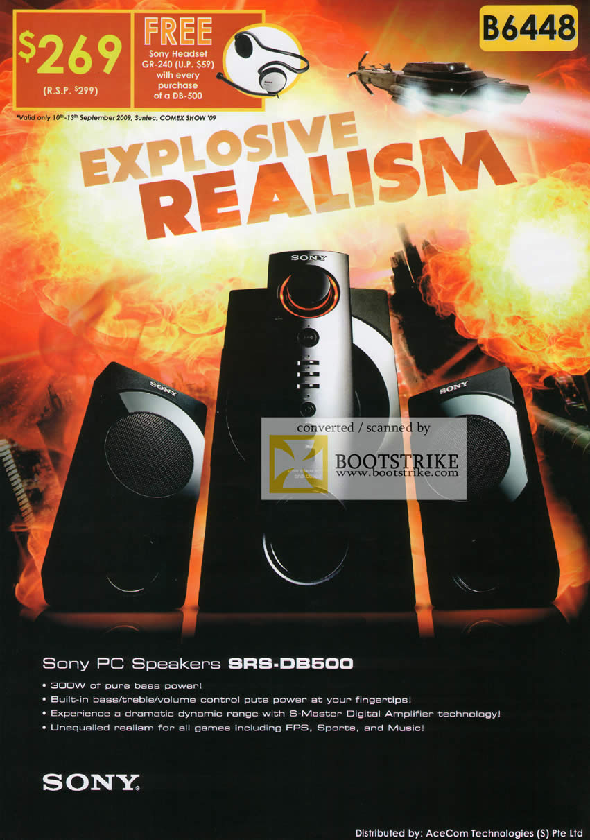 Comex 2009 price list image brochure of Sony PC Speakers SRS-DB500