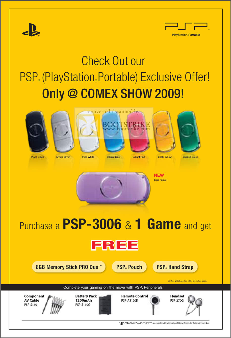 Comex 2009 price list image brochure of Sony Playstation Portable PSP