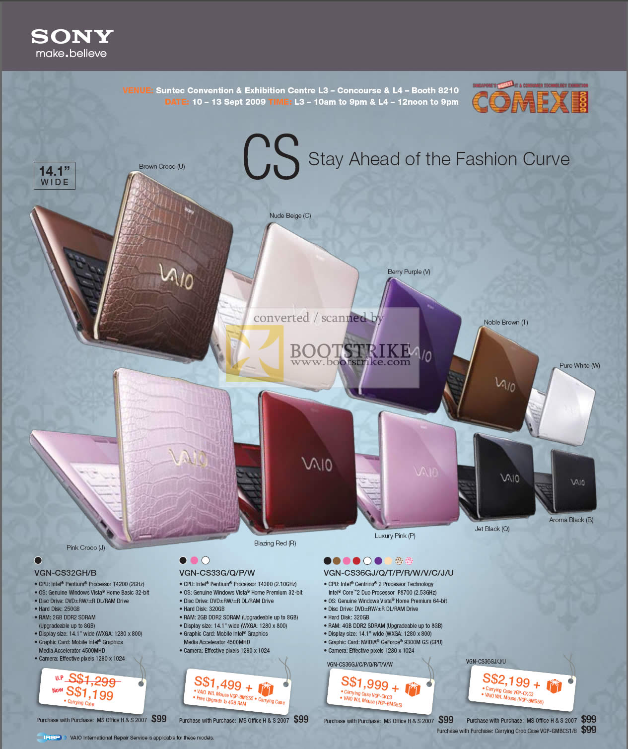 Comex 2009 price list image brochure of Sony Vaio CS VGN-CS32GH CS33G CS35GJ