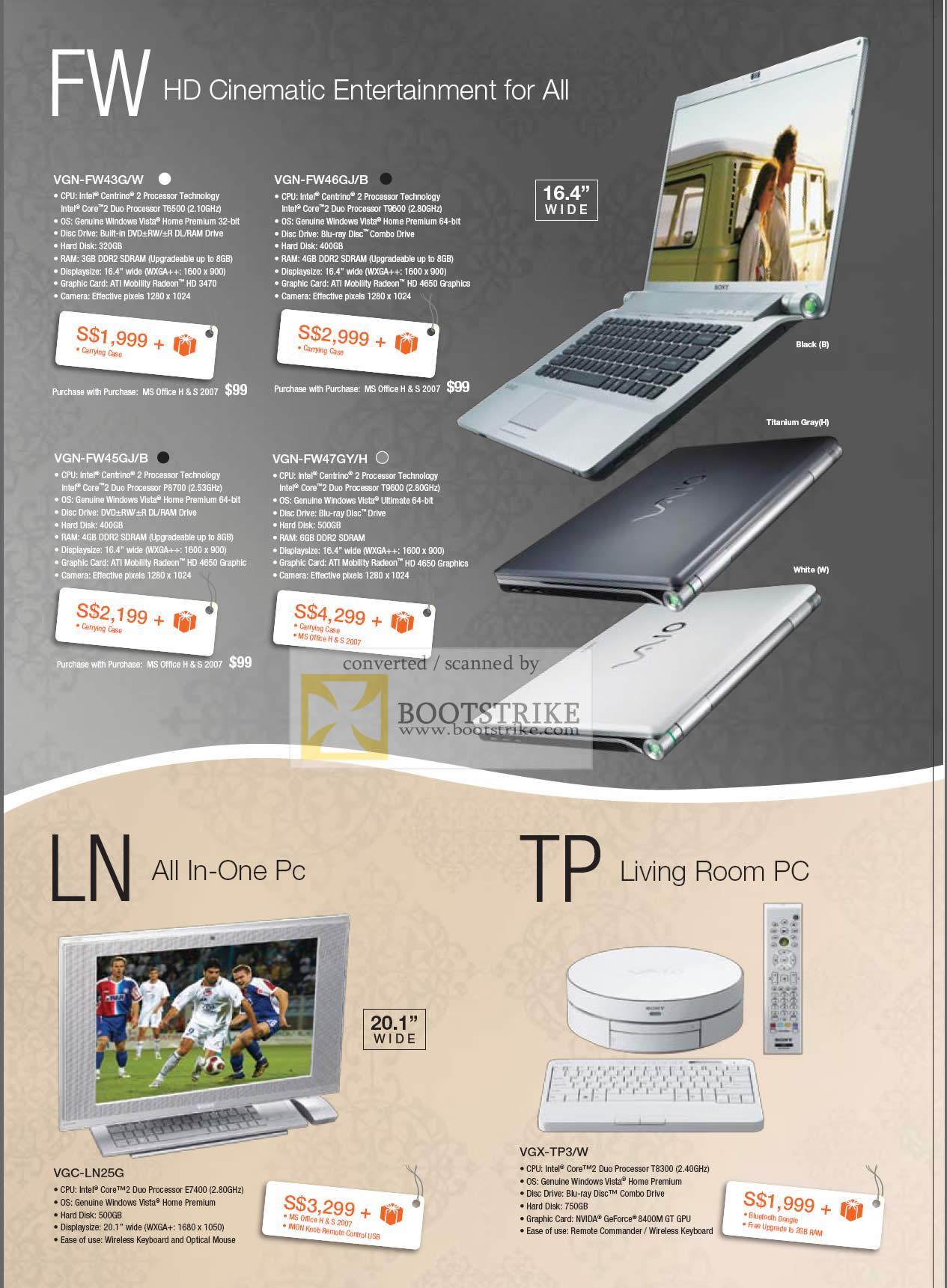 Comex 2009 price list image brochure of Sony Vaio FW VGN FW43G FW46GJ FW45GJ FW47GY LN PC VGC-LN25G TP VGX-TP3