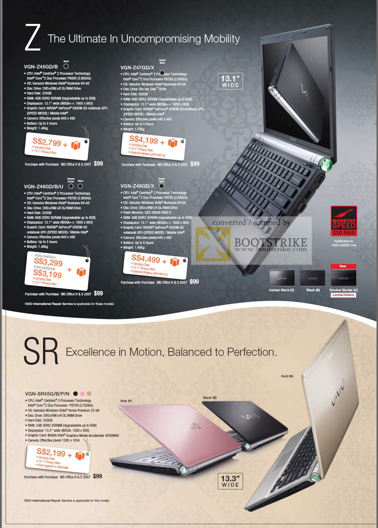 Comex 2009 price list image brochure of Sony Vaio Z Z45GD Z47GD Z46GD Z48GD SR VGN SR45G
