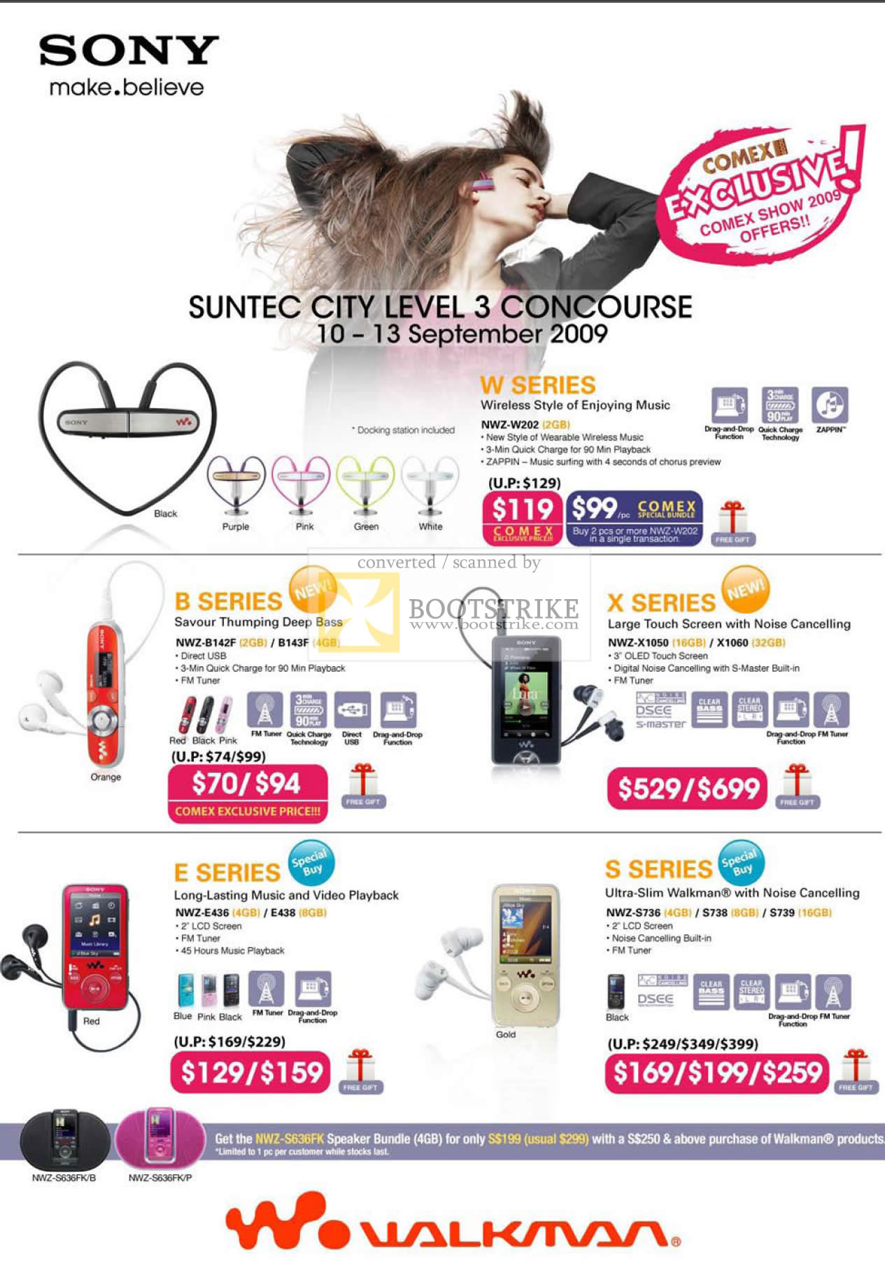 Comex 2009 price list image brochure of Sony Walkman FM Tuner MP3 W B X E S NWZ W202 B142F X1050 E436 S736