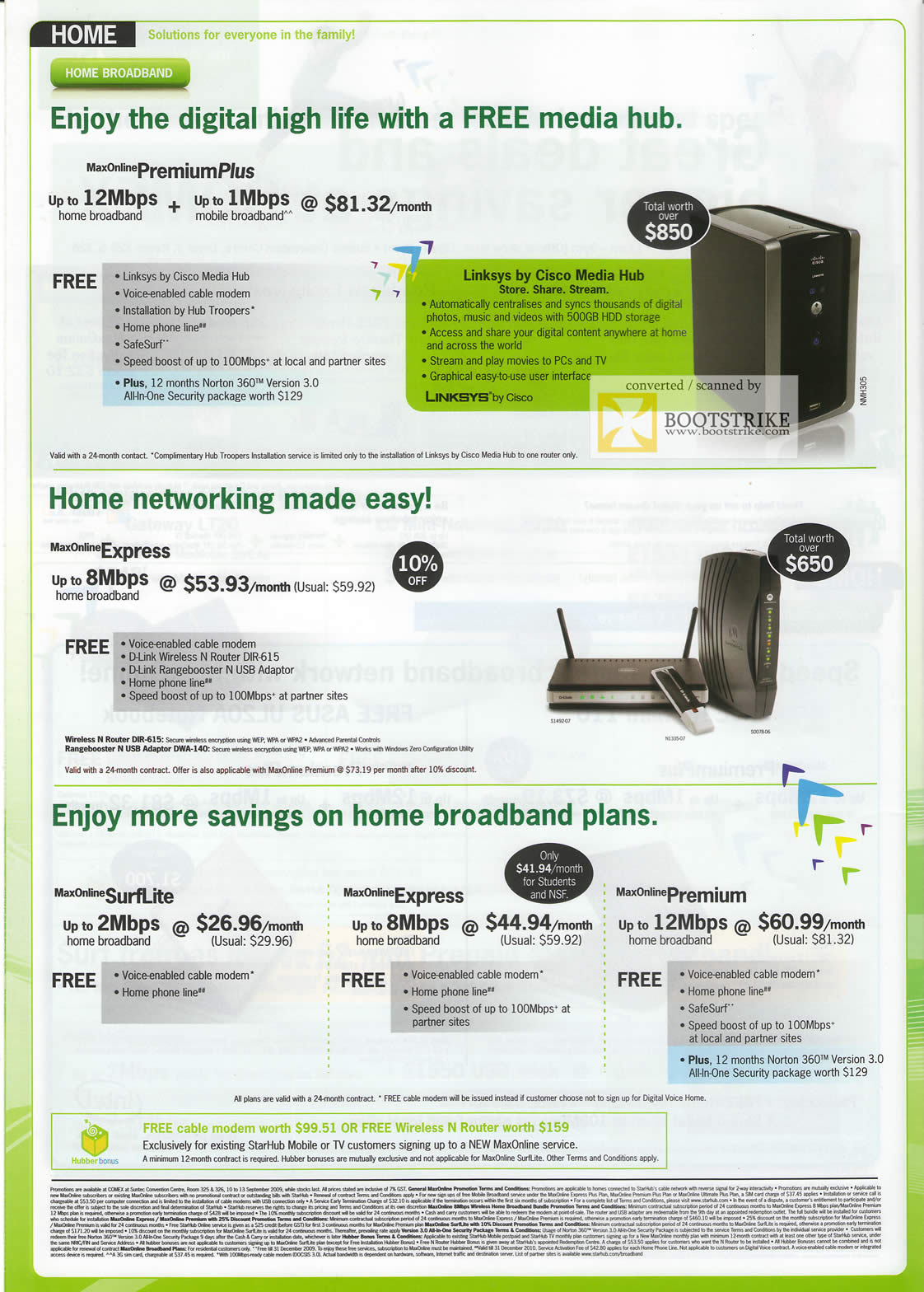 Comex 2009 price list image brochure of Starhub Broadband Premium Plus Linksys Cisco Media Hub Wireless N