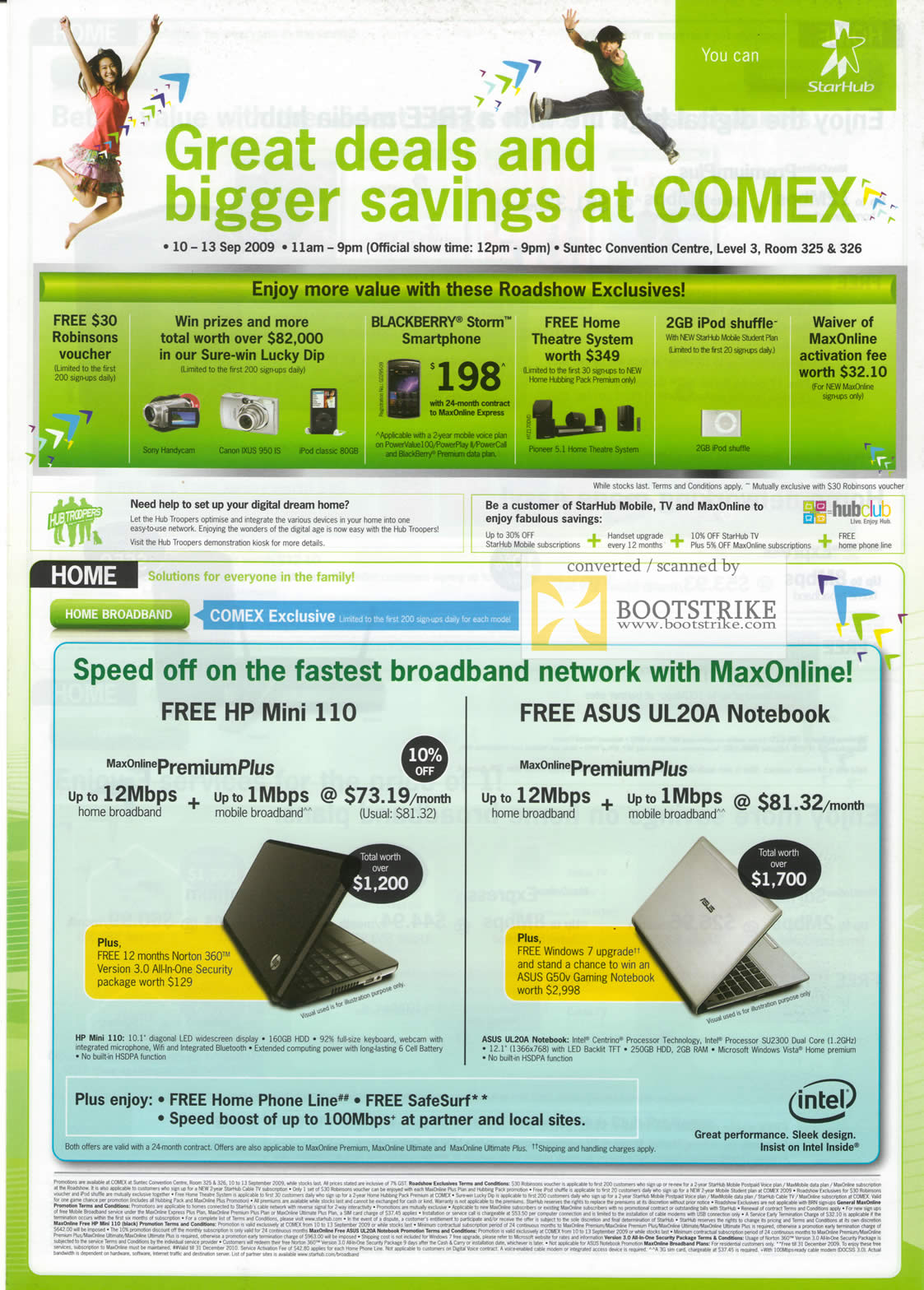 Comex 2009 price list image brochure of Starhub Home Broadband HP Mini 110 ASUS UL20A