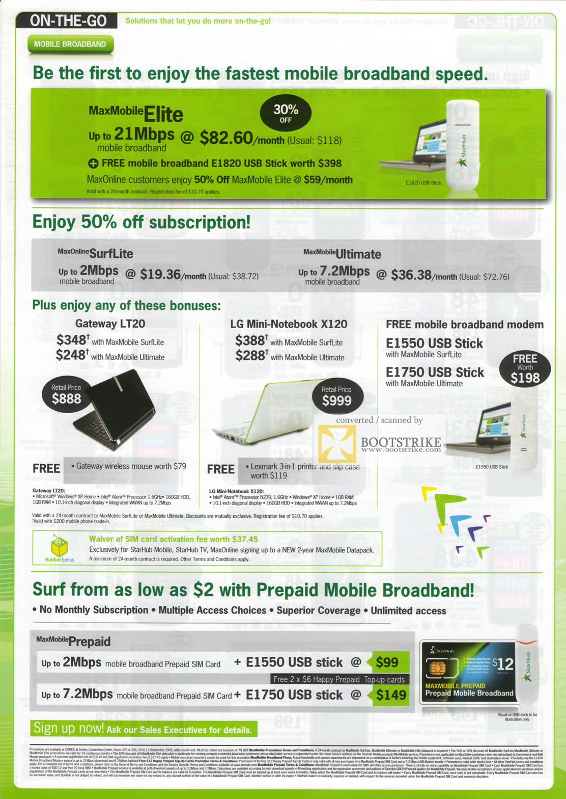 Comex 2009 price list image brochure of Starhub Mobile Broadband MaxMobile Elite Gateway LT20 LG Mini X120