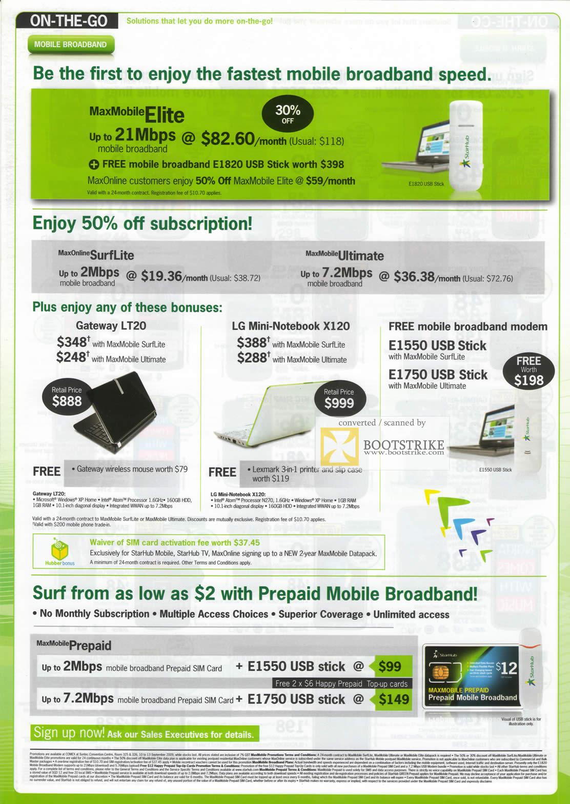 Comex 2009 price list image brochure of Starhub Mobile Broadband MaxMobile Elite Gateway LT20 LG Mini X120