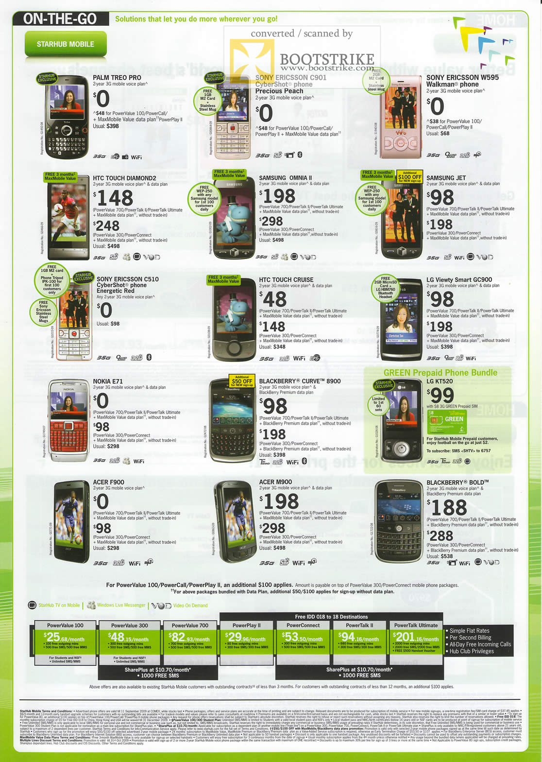 Comex 2009 price list image brochure of Starhub Mobile Phones Palm Treo HTC LG Blackberry Acer Plans