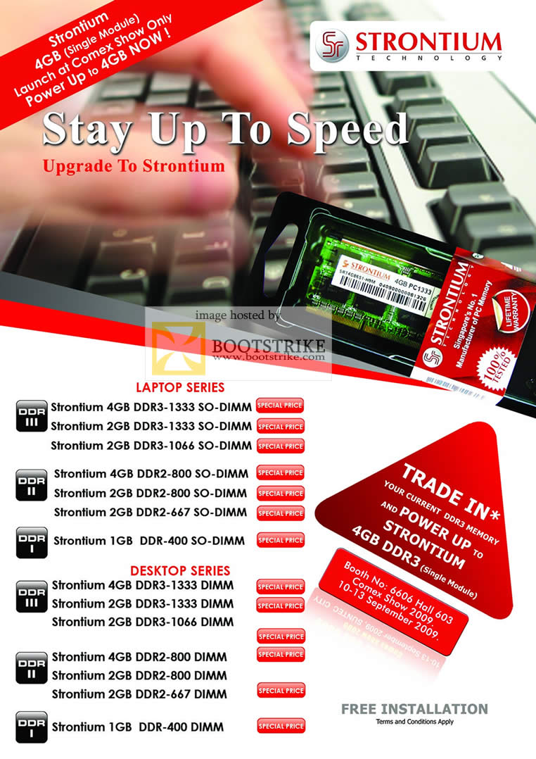 Comex 2009 price list image brochure of Strontium RAM DDR DDR2 DDR3 SO DIMM Trade In