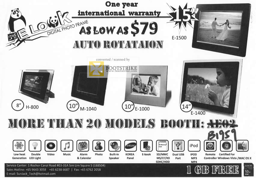 Comex 2009 price list image brochure of SunJack Digital Photo Frame H-800 M-1040 E-1000 E-1400 E-1500