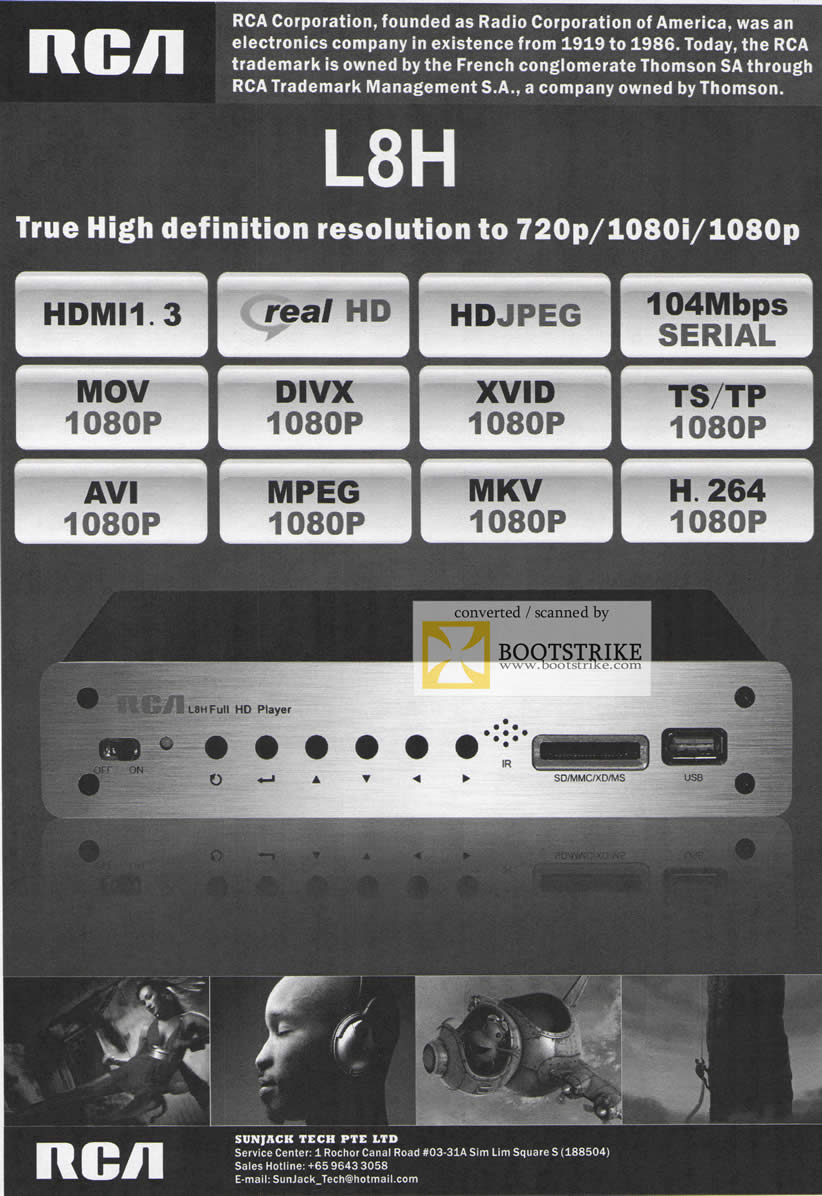 Comex 2009 price list image brochure of Sunjack L8H HDMI Real HD RCA Media Player