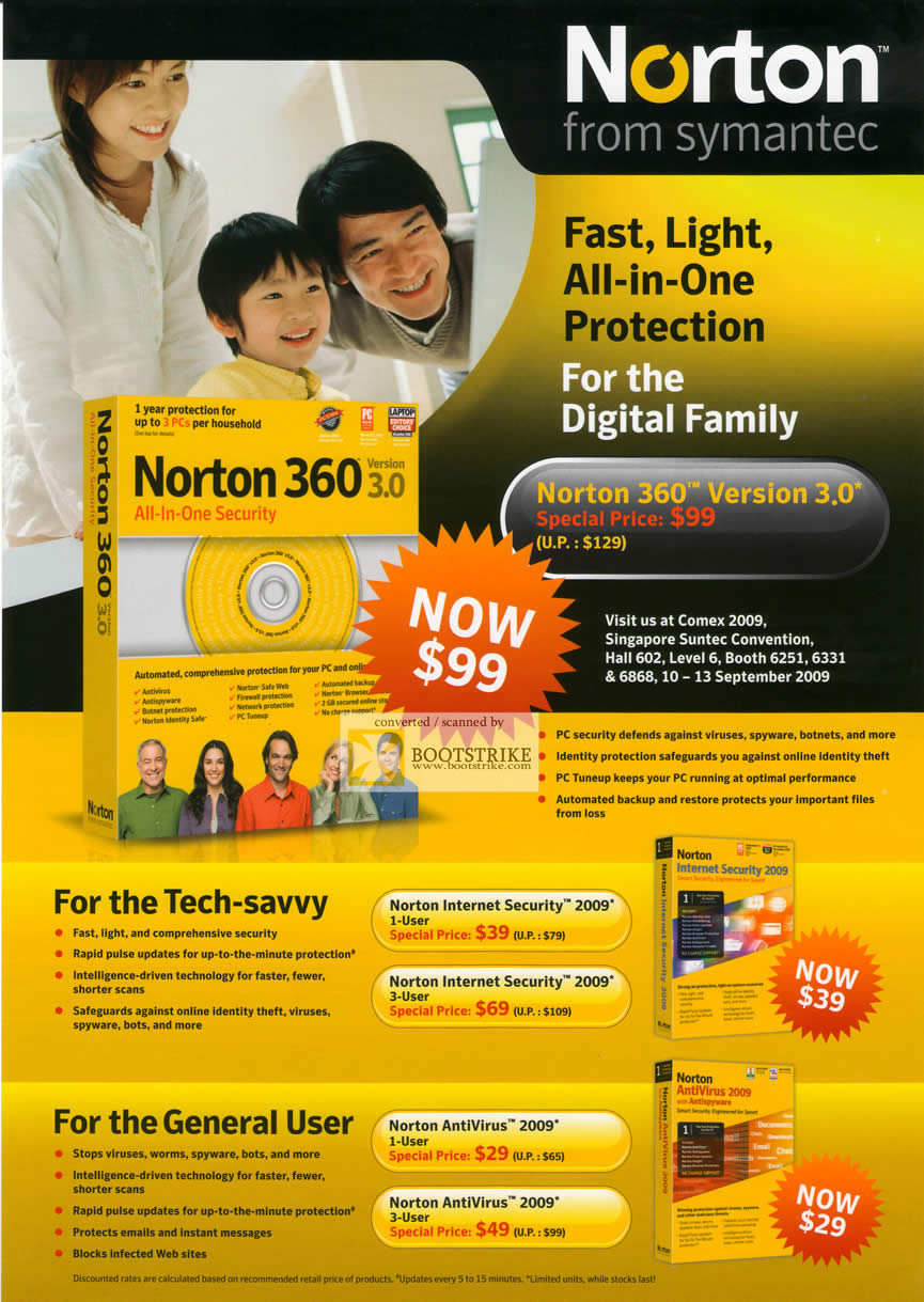 Comex 2009 price list image brochure of Symantec Norton 360 Internet Security 2009 Antivirus 2009