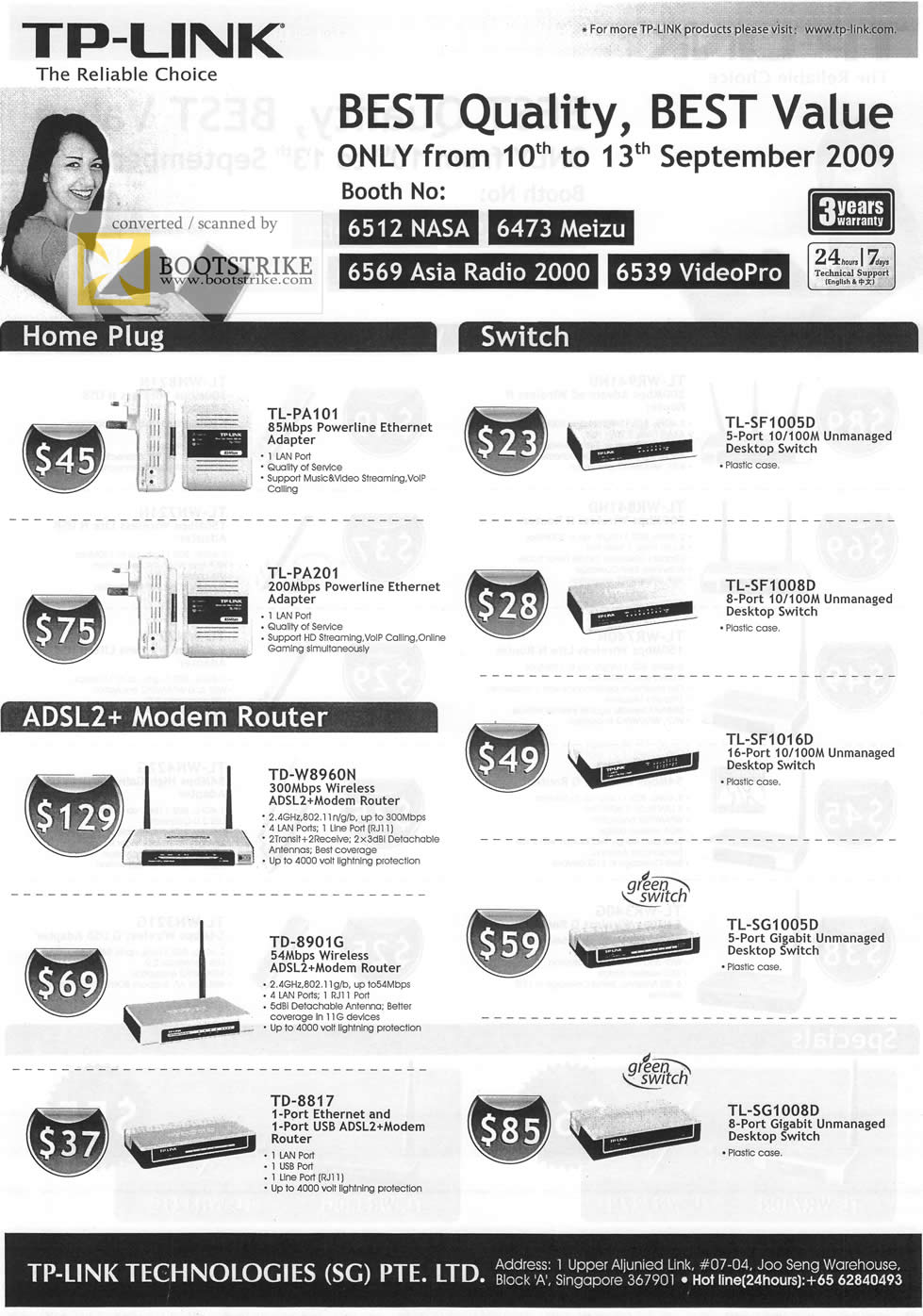 Comex 2009 price list image brochure of TP-Link Home Plug Switch ADSL2 Modem Router