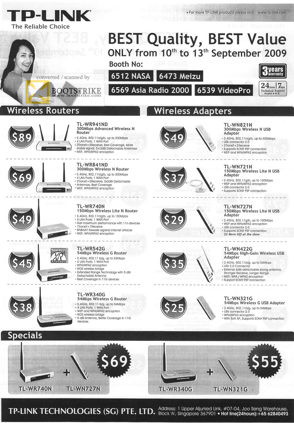 Comex 2009 price list image brochure of TP-Link Wireless Routers Adapters Specials