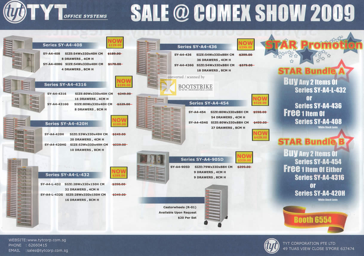 Comex 2009 price list image brochure of TYT Office Systems Castor Wheels