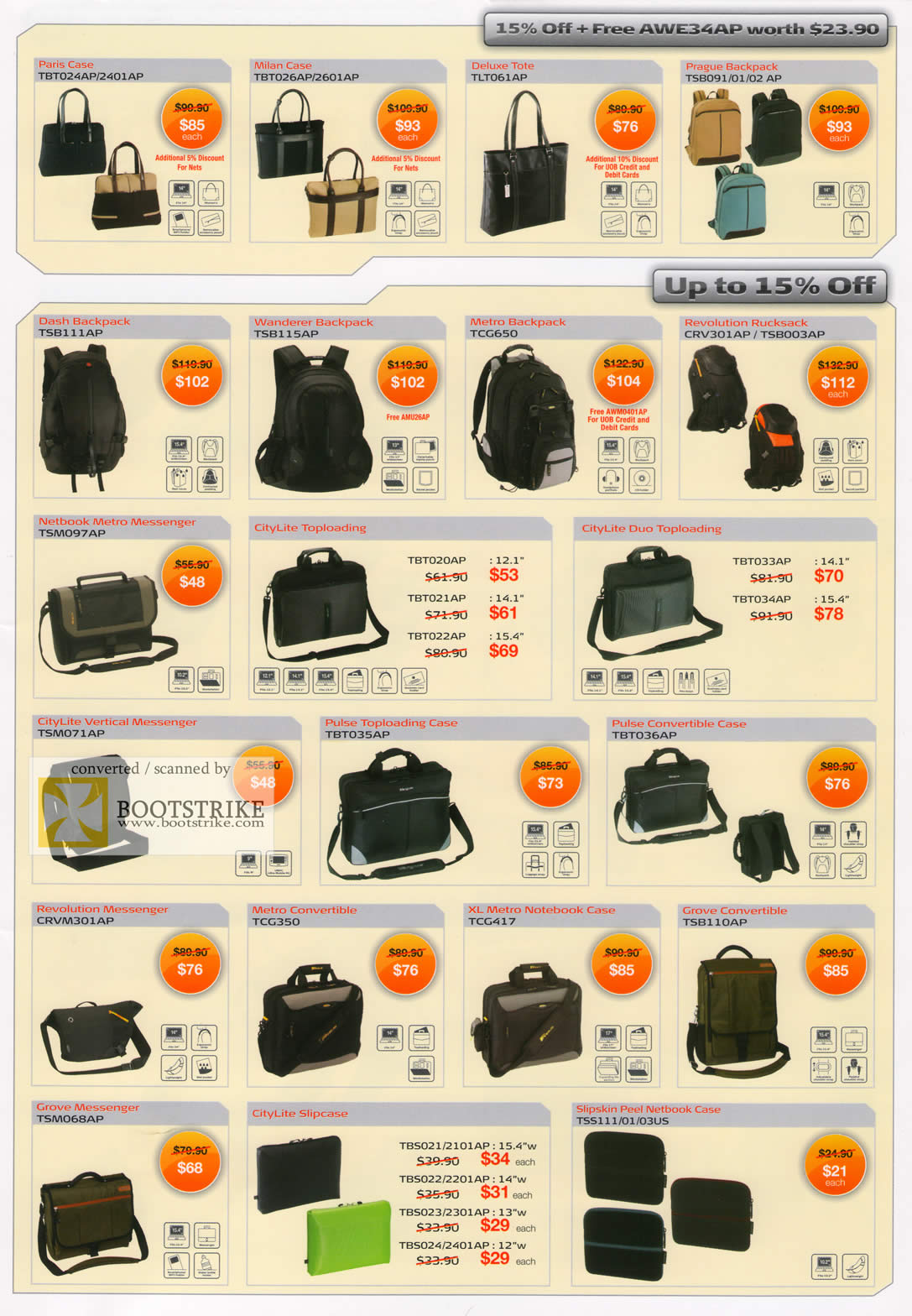 Comex 2009 price list image brochure of Targus Case Tote Backpack Rucksack Netbook Slipcase