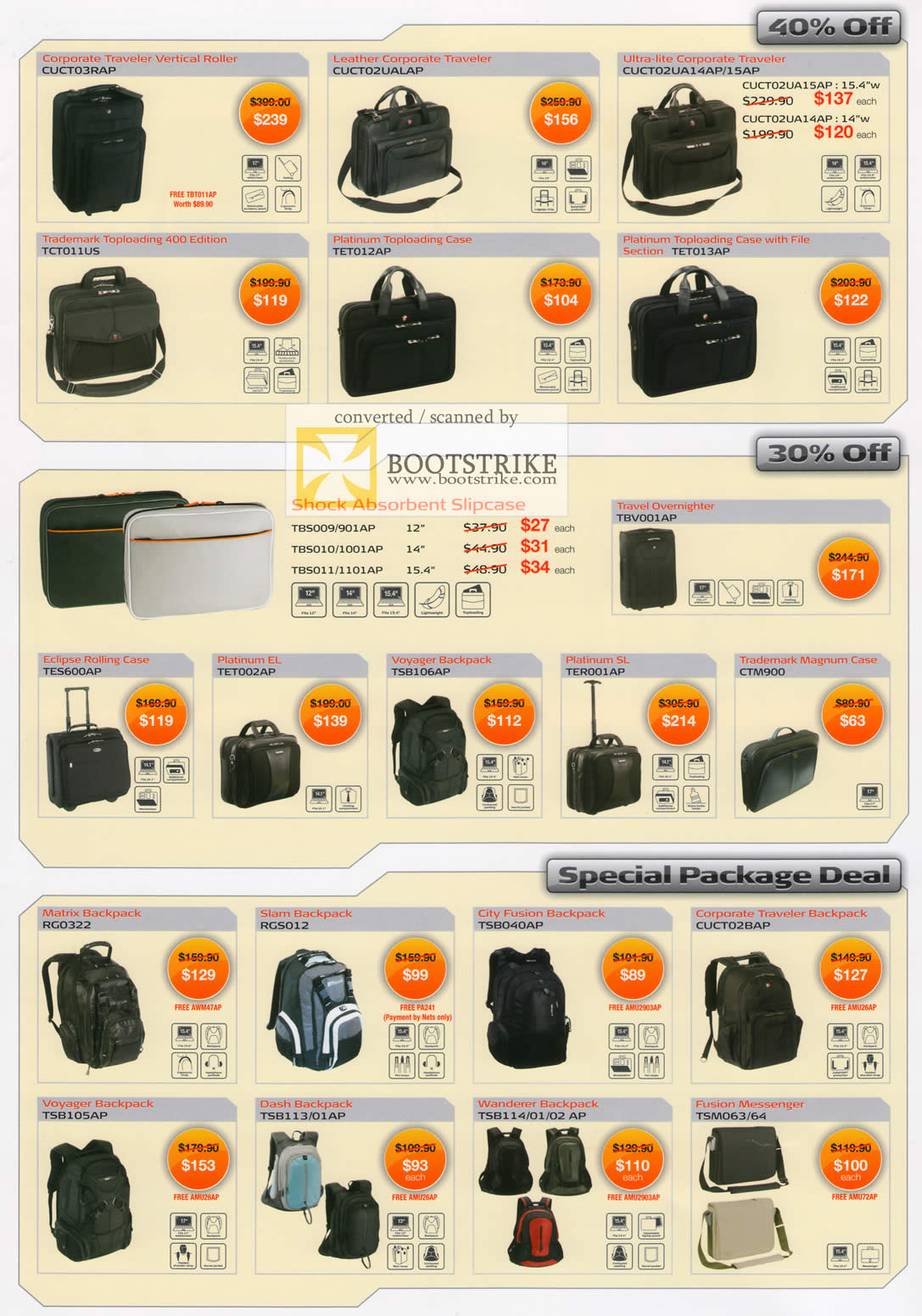 Comex 2009 price list image brochure of Targus Corporate Traveller Vertical Roller Case Backpack Messenger