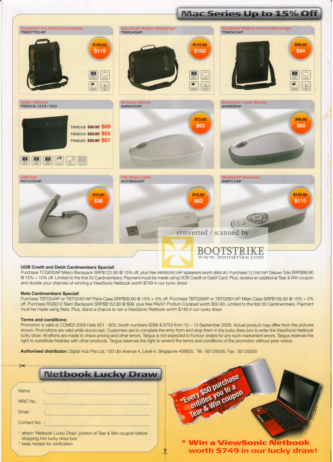 Comex 2009 price list image brochure of Targus Macbook Slipcase Mouse Convertible Messenger Presenter