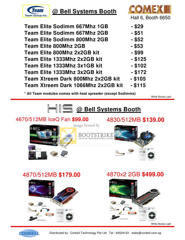 Comex 2009 price list image brochure of Team Elite Xtreem Dark Memory RAM HIS Bell Systems