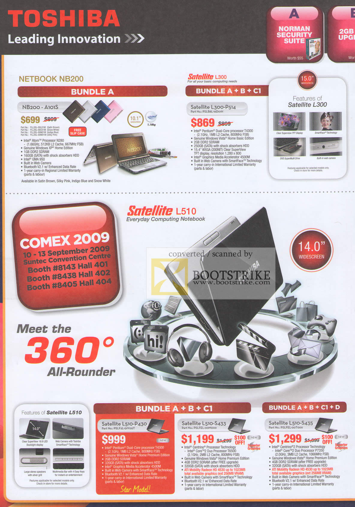 Comex 2009 price list image brochure of Toshiba Netbook N8200-A101s Satellite Notebook L300-P514 L510