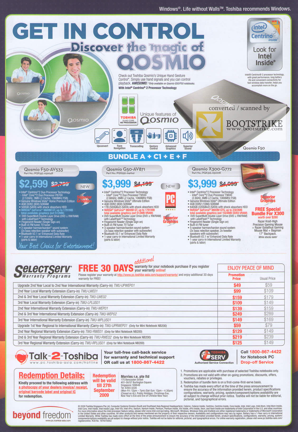 Comex 2009 price list image brochure of Toshiba Qosmio Notebooks F50-AV533 G50-AV871 X300-G772